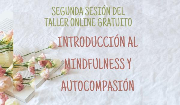 SEGUNDA SESIÓN DEL TALLER ONLINE GRATUITO: INTRODUCCIÓN AL MINDFULNESS Y LA AUTOCOMPASIÓN